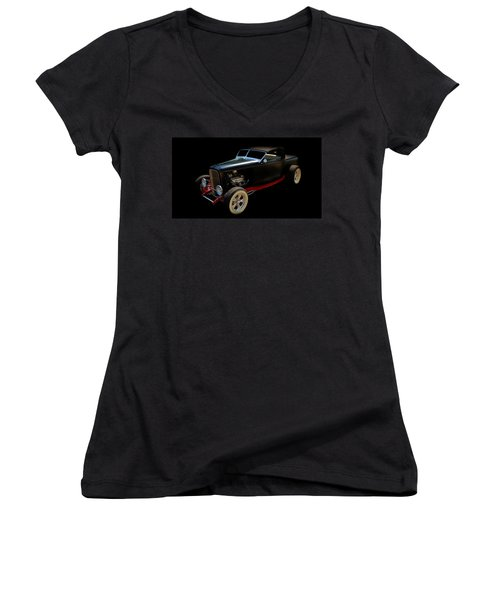 Old Cars Women's V-Neck T-Shirt (Junior Cut) featuring the photograph Custom Hot Rod by Aaron Berg