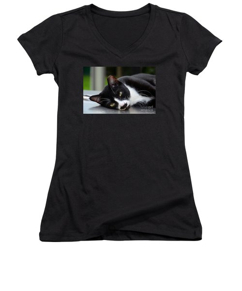 Cute Black And White Tuxedo Cat With Nipped Ear Rests  Women's V-Neck T-Shirt