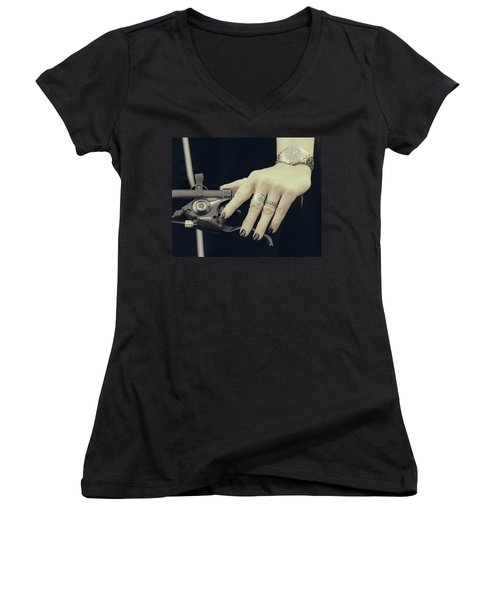 Women's V-Neck T-Shirt (Junior Cut) featuring the photograph Cycling Lady by Ari Salmela