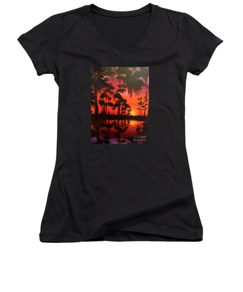 Cypress Swamp At Sunset Women's V-Neck (Athletic Fit)