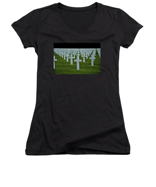 D-day's Price Women's V-Neck T-Shirt (Junior Cut) by Eric Tressler