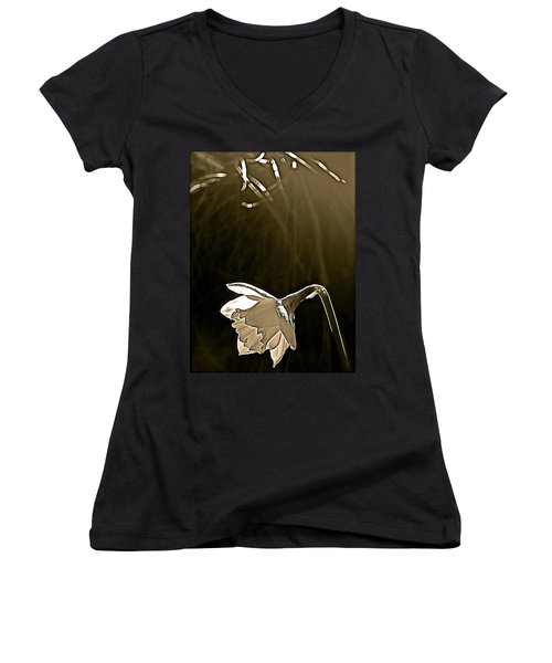 Daffodils 2 Women's V-Neck T-Shirt (Junior Cut) by Pamela Cooper