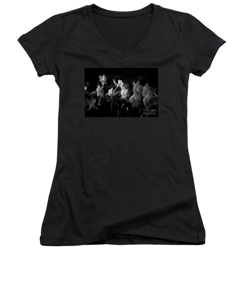 Daffodils In Black And White Women's V-Neck
