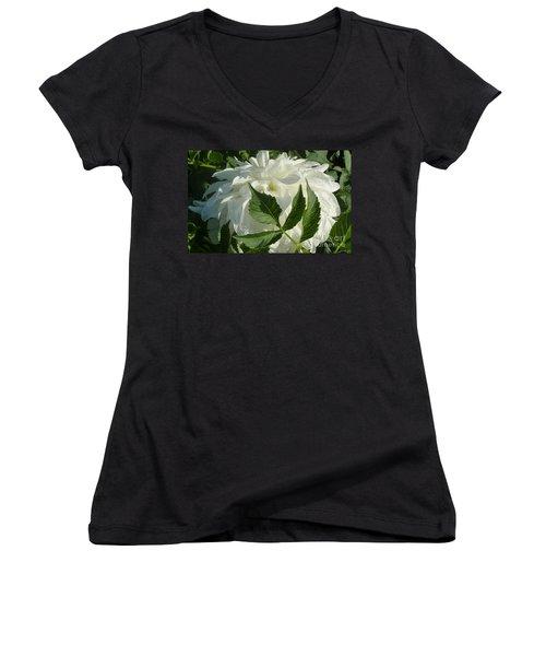 Dahlia Delicate Dancer Women's V-Neck T-Shirt (Junior Cut) by Susan Garren