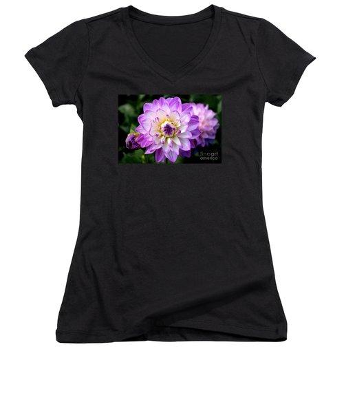 Dahlia Flower With Purple Tips Women's V-Neck