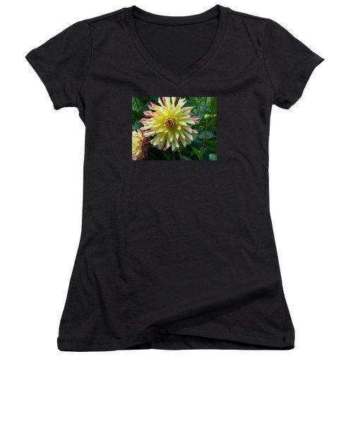 Dahlia Vo Vo Gal Women's V-Neck T-Shirt (Junior Cut) by Catherine Gagne