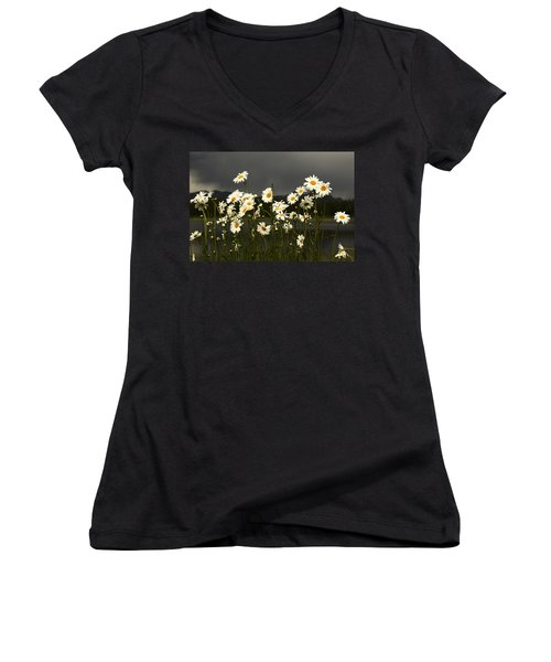 Daisies In Storm Light Women's V-Neck (Athletic Fit)