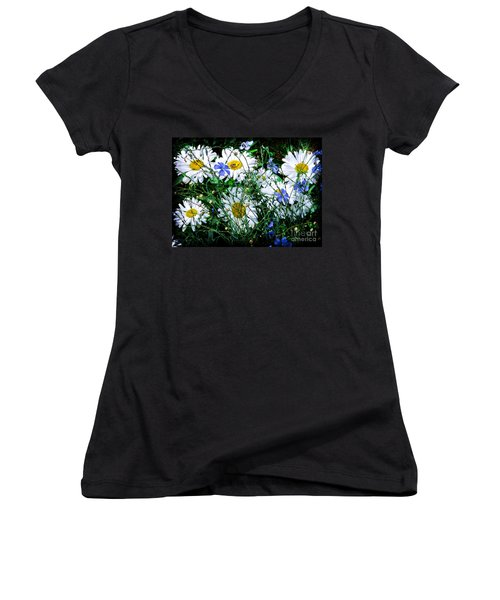 Daisies With Blue Flax And Bee Women's V-Neck T-Shirt (Junior Cut) by Roselynne Broussard