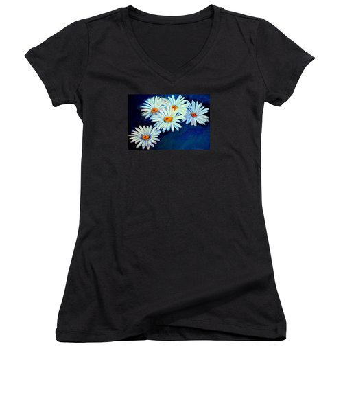 Women's V-Neck T-Shirt (Junior Cut) featuring the pastel Daisy Fever  Pastel by Antonia Citrino