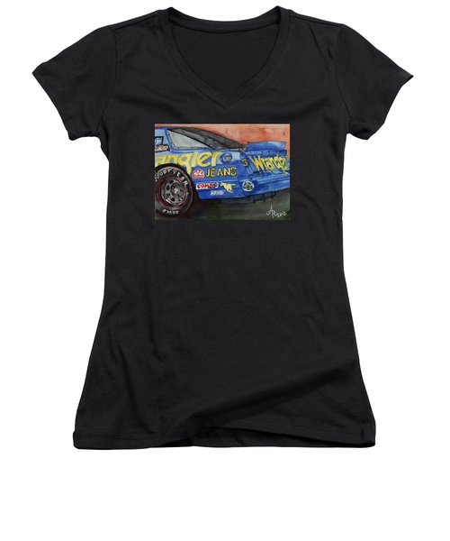 Dale Earnhardt's 1987 Chevrolet Monte Carlo Aerocoupe No. 3 Wrangler  Women's V-Neck T-Shirt (Junior Cut) by Anna Ruzsan