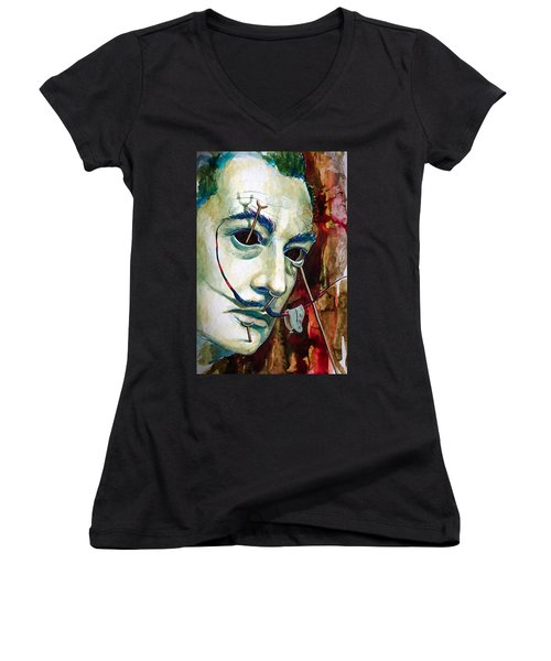 Women's V-Neck T-Shirt (Junior Cut) featuring the painting Dali 2 by Laur Iduc