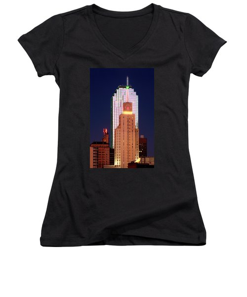 Dallas At Dawn Women's V-Neck T-Shirt (Junior Cut) by David Perry Lawrence