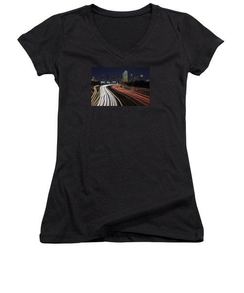 Dallas Night Women's V-Neck T-Shirt