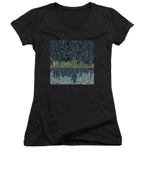 Dallas Skyline Abstract 2 Women's V-Neck T-Shirt
