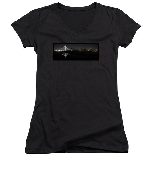 Dallas Skyline Hunt Bridge Color Women's V-Neck (Athletic Fit)