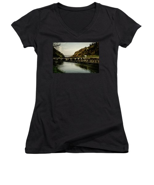 Dam On Adda River Women's V-Neck