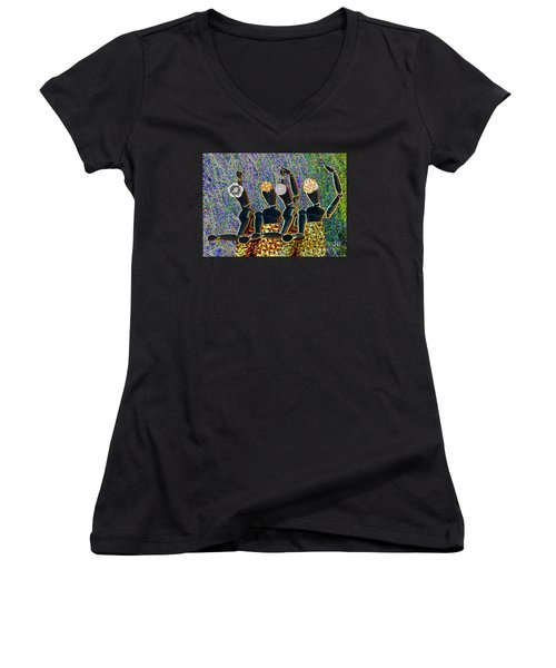 Women's V-Neck T-Shirt (Junior Cut) featuring the photograph Dance Party by Nareeta Martin