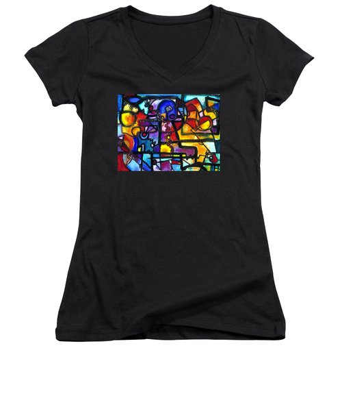 Dance Of The Gauge Bosons In Vacuum Women's V-Neck T-Shirt (Junior Cut) by Regina Valluzzi