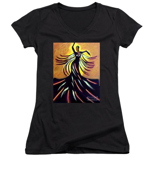 Women's V-Neck T-Shirt (Junior Cut) featuring the painting Dancer by Anita Lewis