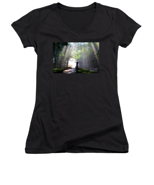 Dancing In God's Light Copyright Willadawn Photography Women's V-Neck T-Shirt (Junior Cut) by Melissa Petrey