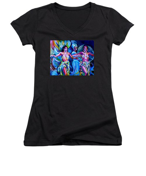 Women's V-Neck T-Shirt (Junior Cut) featuring the painting Dancing Panama by Anna  Duyunova