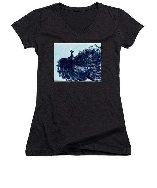 Dancing Peacock Aqua Women's V-Neck T-Shirt (Junior Cut) by Anita Lewis