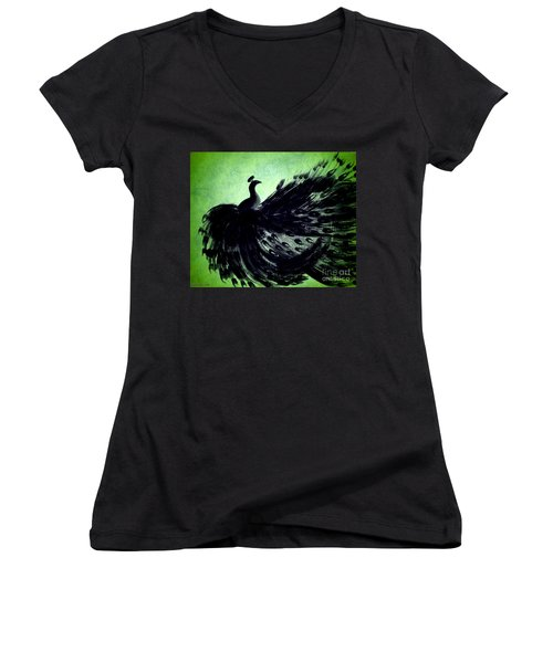Women's V-Neck T-Shirt (Junior Cut) featuring the digital art Dancing Peacock Green by Anita Lewis