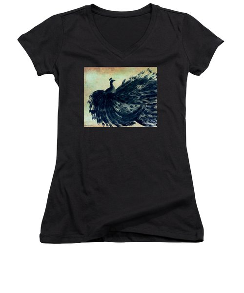 Women's V-Neck T-Shirt (Junior Cut) featuring the painting Dancing Peacock Mint by Anita Lewis