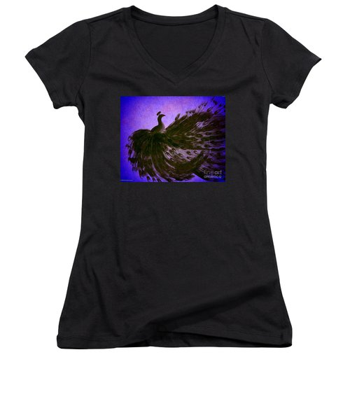 Women's V-Neck T-Shirt (Junior Cut) featuring the digital art Dancing Peacock Vivid Blue by Anita Lewis