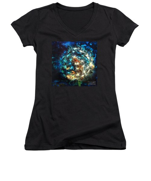 Women's V-Neck T-Shirt (Junior Cut) featuring the painting Dandy Puff by Kathy Braud