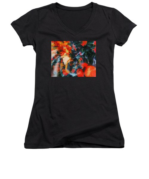 Women's V-Neck T-Shirt (Junior Cut) featuring the painting Dangerous Passion by Joe Misrasi