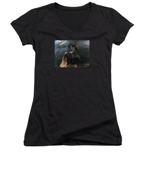 Women's V-Neck T-Shirt (Junior Cut) featuring the painting Dappled Horse In Stormy Light by LaVonne Hand