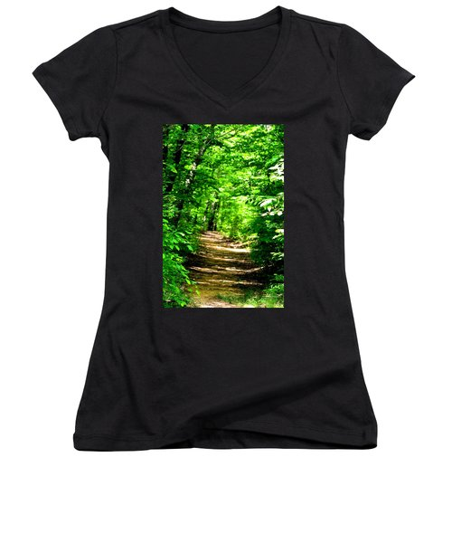 Dappled Sunlit Path In The Forest Women's V-Neck (Athletic Fit)