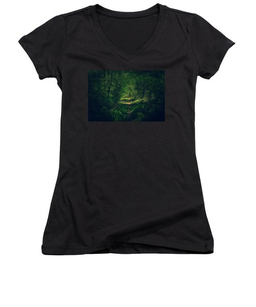 Dark Forest Women's V-Neck T-Shirt (Junior Cut) by Daniel Precht