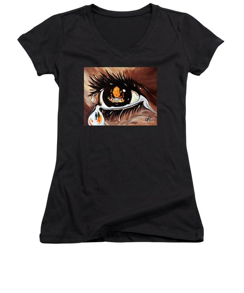 Women's V-Neck T-Shirt (Junior Cut) featuring the painting Dark Sorrow  by Jackie Carpenter