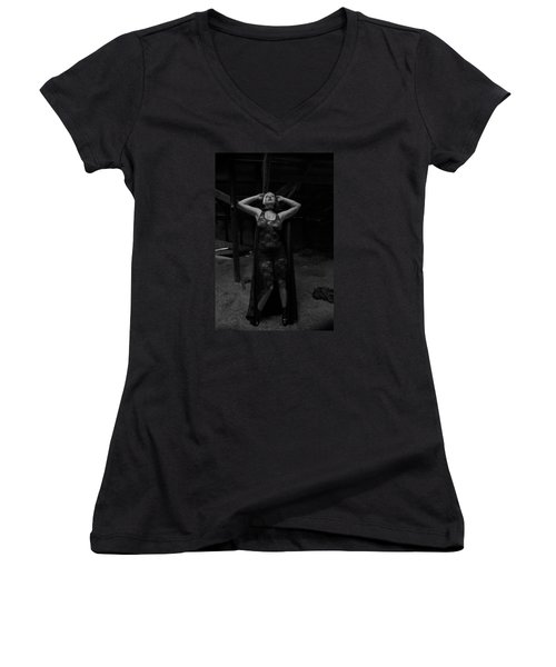 Women's V-Neck T-Shirt (Junior Cut) featuring the photograph Dark Witch's Yearning by Mez
