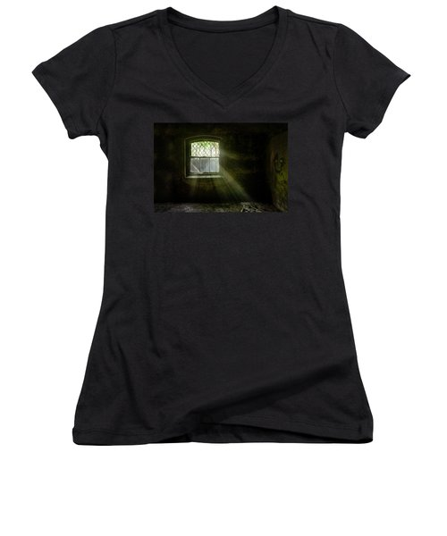Darkness Revealed - Basement Room Of An Abandoned Asylum Women's V-Neck (Athletic Fit)