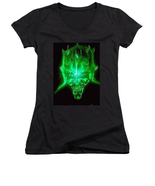 Darth Maul Green Glow Women's V-Neck T-Shirt (Junior Cut) by Saundra Myles
