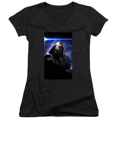 Women's V-Neck T-Shirt (Junior Cut) featuring the photograph Darth Vader by Aaron Berg