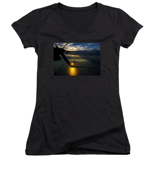 Dash Of Sunset Women's V-Neck T-Shirt (Junior Cut) by Greg Reed