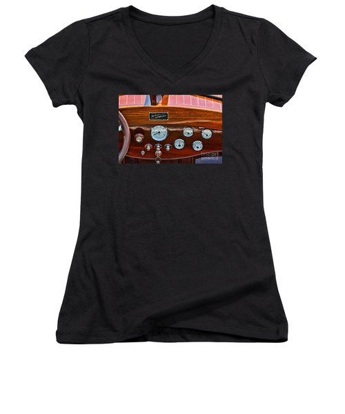 Dashboard In A Classic Wooden Boat Women's V-Neck T-Shirt (Junior Cut) by Les Palenik
