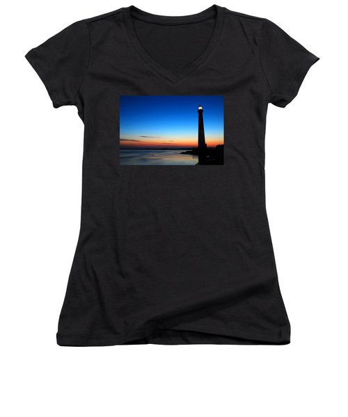 Women's V-Neck T-Shirt (Junior Cut) featuring the photograph Dawn At Barnegat Light by James Kirkikis