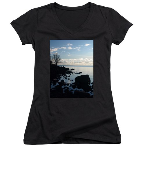 Women's V-Neck T-Shirt (Junior Cut) featuring the photograph Dawn At The Cove by James Peterson