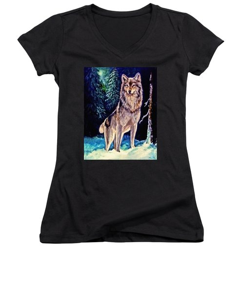 Women's V-Neck T-Shirt (Junior Cut) featuring the painting Dawn Of A New Day Original Painting Forsale by  Nadine Johnston