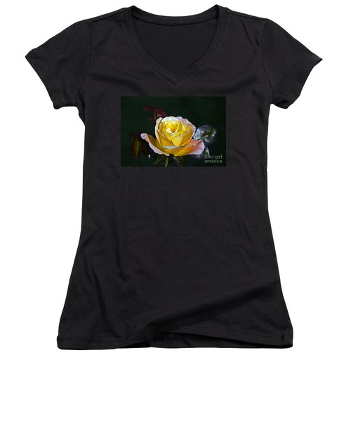 Women's V-Neck T-Shirt (Junior Cut) featuring the photograph Day Breaker Rose by Kate Brown