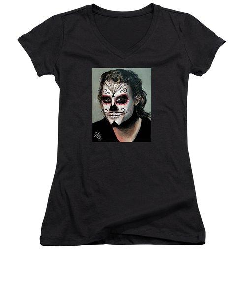 Day Of The Dead - Heath Ledger Women's V-Neck T-Shirt (Junior Cut) by Tom Carlton