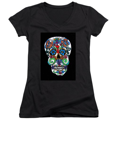 Day Of The Dead Skull Women's V-Neck T-Shirt (Junior Cut) by Genevieve Esson