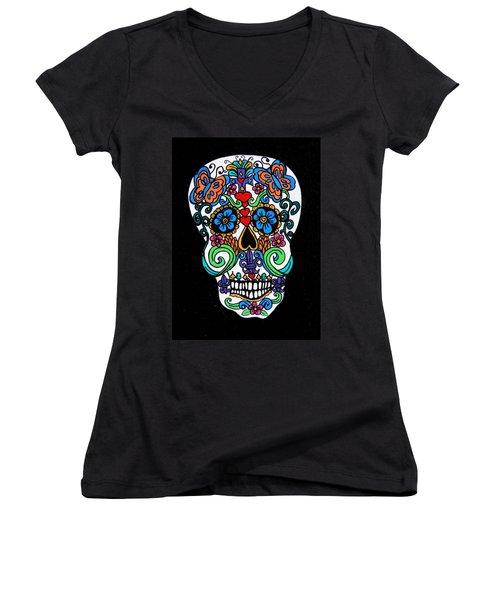 Day Of The Dead Skull Women's V-Neck T-Shirt