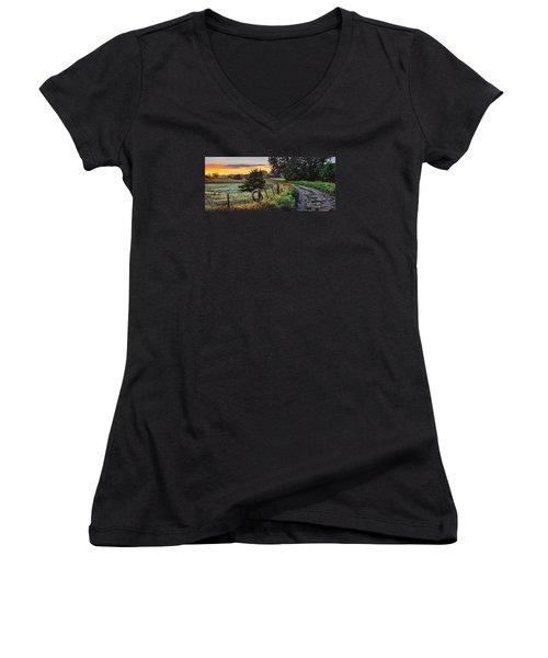 Daybreak Southwest Corner Fenceline Women's V-Neck T-Shirt (Junior Cut) by Bruce Morrison