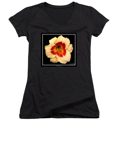 Women's V-Neck T-Shirt (Junior Cut) featuring the photograph Daylily 3 by Rose Santuci-Sofranko